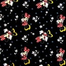 Picture of Disney Minnie Mouse and Flowers Black Cotton Fabric