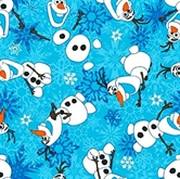 Picture of Flannel Disney Frozen Olaf Winter Snowflakes Cotton Fabric
