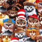 Picture of Cats and Kittens in Hats Cat and Kitten Cotton Fabric