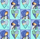 Picture of Holly Hobbie Blue Girl Hearts Patchwork Squares Blue Cotton Fabric