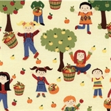 Picture of Apple Picking Children Pick Apples Cream Cotton Fabric