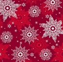 Picture of Celebrate the Season White and Silver Snowflakes Red Cotton Fabric