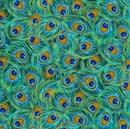 Picture of Enchanted Plume Packed Iridescent Peacock Feathers Cotton Fabric