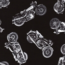 Picture of Vintage Motorcycle Tossed Motorcycles Black and White Fabric