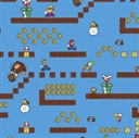 Picture of Nintendo Mario Brothers Video Game Scenes Blue Cotton Fabric