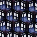 Picture of Doctor Who Packed Tardis Phone Booth Time Machine Cotton Fabric