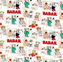 Picture of Babar The Little Elephant and His Family in Blocks Cotton Fabric