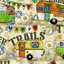 Picture of Camptown Trailers Camping Campers Happy Trails Cotton Fabric
