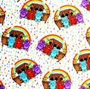 Picture of Rainy Days and Rainy Nights Noah's Ark Animals Rainbows Cotton Fabric