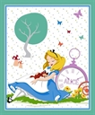 Picture of Disney Alice in Wonderland and Cat Napping Large Cotton Fabric Panel