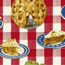 Picture of Apple Pie Slices on Red and White Checkered Tablecloth Cotton Fabric