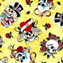 Picture of Love Is True Ed Hardy Tossed Skulls Roses Light Lemon Cotton Fabric
