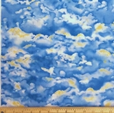 Picture of Wingman Smithsonian White Clouds with Gold on Blue Sky Cotton Fabric