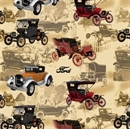 Picture of Vintage Ford Model T Cars Classic Car Beige Cotton Fabric