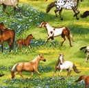Picture of Band of Horses Horse Breeds Running in Blue Flowers Cotton Fabric