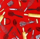 Picture of Kiss The Cook Large Kitchen Utensils Whisk Beater Red Cotton Fabric