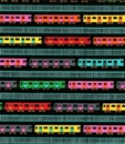 Picture of The Big Apple Small Subway Cars and Track Stripe Black Cotton Fabric