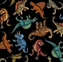 Picture of Jurassic Jungle  T-Rex Triceratops Dinosaurs Black Cotton Fabric