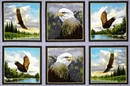 Picture of Majestic Eagles in Blocks 24x44 Large Cotton Fabric Panel