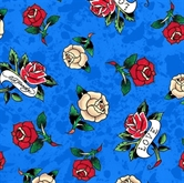 Picture of Love Is True Ed Hardy Tossed Tattoo Roses Mottled Blue Cotton Fabric