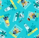 Picture of Minion Movie Le Buddies Unique Toss Turquoise Cotton Fabric