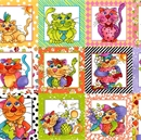 Picture of Happy Cats Patches Loralie Harris 24x44 Large Cotton Fabric Panel