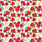 Picture of Kentucky Derby Rose Red Roses White Cotton Fabric