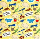 Picture of Family Guy Stewie Griffin Victory Shall Be Mine Yellow Cotton Fabric