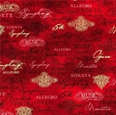 Picture of All That Jazz Metallic Music Terms Opera Symphony Red Cotton Fabric