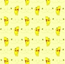 Picture of Disney Winnie the Pooh with Honey Bee on Yellow Cotton Fabric
