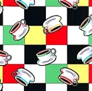 Picture of Arnold's Diner Cups of Coffee on Checkered Cotton Fabric