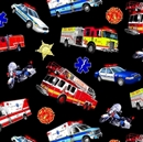 Picture of In Motion Emergency Vehicle Fire Truck Police Ambulance Cotton Fabric