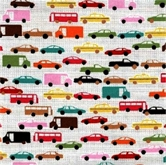 Picture of The Big Apple City Traffic Car Truck Taxi Bus in Rows Cotton Fabric