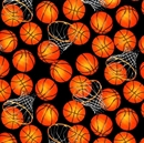 Picture of B-Ball Basketball Net and Basketballs Black Cotton Fabric