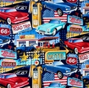 Picture of Classic Car Road Trip Metro Dinner Retro Mustang Cotton Fabric