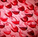Picture of Vineyard Classics Red Wine Spilling From Glasses Pink Cotton Fabric