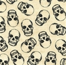 Picture of Skeleton Skulls with Metallic Accents Cream Cotton Fabric