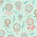 Picture of Dream Catchers and Feathers Native American Blue Cotton Fabric