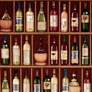 Picture of Over A Barrel Wine Bottles Collection on Shelf 16x22 Cotton Fabric