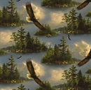 Picture of Majestic Bald Eagle Soaring Over Wooded Lake Hautman Cotton Fabric