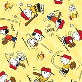 Picture of All Stars Peanuts Character Baseball Toss Yellow Cotton Fabric