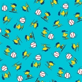 Picture of All Stars Peanuts Baseball Woodstock Toss Blue Cotton Fabric