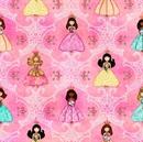 Picture of Royal Princess Princess and Filigree Pink Cotton Fabric