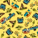Picture of Outdoor Adventure Camping Campers Tent Toss Yellow Cotton Fabric