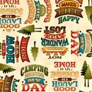 Picture of Outdoor Adventure Camping Mottos Camp Words Cream Cotton Fabric
