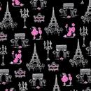 Picture of C'est La Vie Poodles in Paris Ink and Arrow Pink Black Cotton Fabric