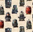 Picture of All Aboard Locomotive Railroad Train Engine Cream Cotton Fabric