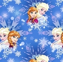 Picture of Disney Frozen Sisters Anna and Elsa Magic Snowflake Cotton Fabric