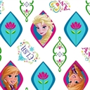 Picture of Disney Frozen Anna Elsa Ogee White Cotton Fabric