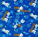 Picture of Disney Frozen Olaf Chillin' Toss I Love Warm Hugs Blue Cotton Fabric